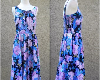 80s 90s Boho Summer Purple Blue Pink Rose Floral Grunge Maxi Ribbed Back Swing Skirt Dress Comfortable Vintage 90s Daisy Free Shipping