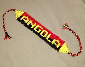 Angolan flag knotted bracelet, Alpha pattern bracelet, Braided bracelet, Bracelet bresilien, Handwoven bracelet, Friendship bracelet, String