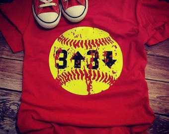 Softball Life. 3 up, 3 down. Softball tee, softball girl, softball mom