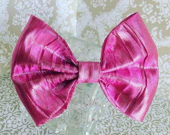 Metallic pink formal dog bow