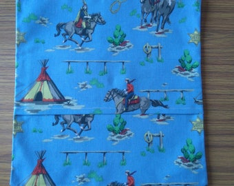 """Cute Handmade Envelope Cushion Cover 14"""" 'Cowboys and Indians'"""
