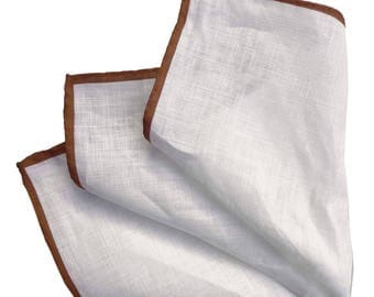 White Linen Pocket Square with Brown Hem