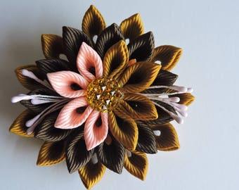 Kanzashi fabric flower brooch .