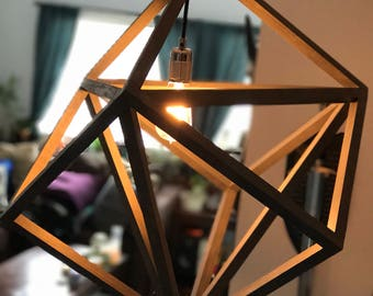 wood pendant light geometric cube