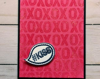 X's and O's Valentines Day Card - Handmade Pink and Black Hugs and Kisses Card
