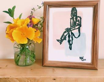 "Figurative Monoprint | Pale Pink and Blue | Framed Art | Annabel Wyatt Art | 25 X 20 cm | 10 X 8"""