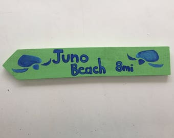 Juno beach, Destination signs, Custom Directional sign, Beach house sign, tiki bar sign, mile marker sign, Coastal Decor