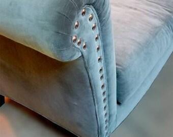 Chicago Based Designer Gray Velvet Love-Seat