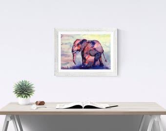ELEPHANT ART PRINT - Elephant print, watercolor elephant gift, elephant