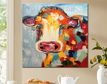 Hand Painted Original oil painting,Cow painting,impasto,heavy texture,huge size,palette knife painting,Wall Art. Home Decor