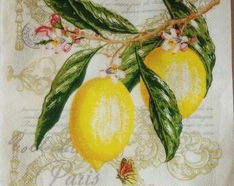 4 Decoupage Paper Napkins, Lemon Napkins Craft