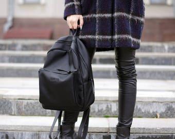 Eco Vegan Backpack,Small Backpack,Black Backpack,Women Backpack,Vegan Rucksack,Vegan Leather Bag,Personalized Gift