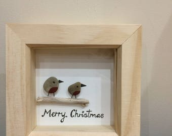 Christmas pebble art - Robins or Christmas tree