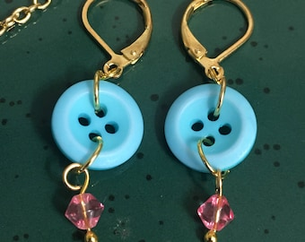 Light blue button earrings