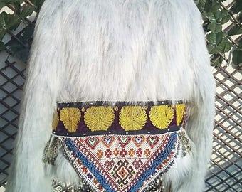 Boho Jacket, Fur coat, Boho Coat, Vintage Jacket, Tribal Jacket, Jewel Jacket,