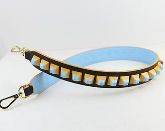Leather Stud Bag Strap blue black yellow Leather Strap Removable Strap for Bag and Purses Interchangeable Strap