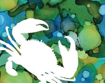 Blue Crab Alcohol Ink Print silhouette with blue and green