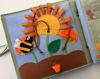 Quiet book PAGE, activity book page, busy book with bee and flower for kids