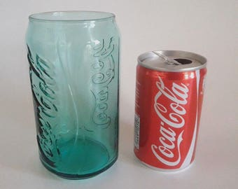 Coca Cola Glass Green Color Can Shape Advertising Olympic Games Rio 2016 & Empty Can In Greek Coca Cola Collectables
