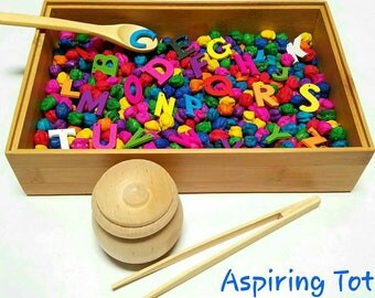 Alphabet Rainbow Sensory Bin, Learning Letters, Pre-school, Educational, Montessori, Reggio Emilia, Fine Motor, Scooping, Sorting, Tonging