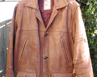 """A Good Vintage Tan Leather Jacket/ Coat With Deep Red Quilted Lining ~ """"Original Hardware 57 Heavy""""  ~  Size Medium"""