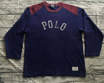 Vintage POLO RALPH LAUREN Spell Out Logo large crew sweatshirt sport country usa