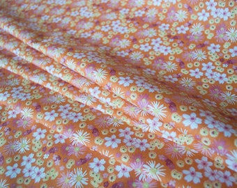 """Coupon fabric """"Zinia Orange"""" 100% cotton sold from 10 cm"""