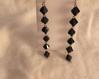Long black and silver dangles with leverback clasp 925
