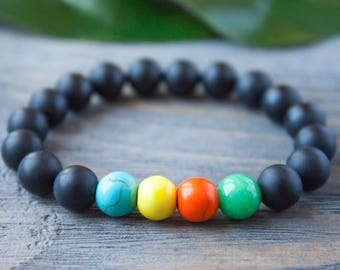 Rainbow Bracelet Long Distance Relationship Bracelet Black and Rainbow Black Matte Beads Onyx Couple Bracelet Summer Bracelet Hippy Bracelet