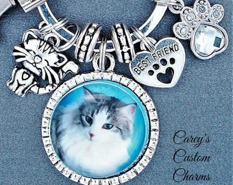 Cat Lovers Love My Cat Best Friend Custom Photo Charm Key Ring Chain, Gift For Cat Lover, Kitty, Kitten, Personalized Picture Charm Keychain