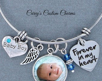 Baby Boy Memorial Keepsake Photo Charm Bracelet, Swarovski Birthstone, Sympathy Gift, Forever In My Heart, Angel Wing, Infant Loss, Gift Mom