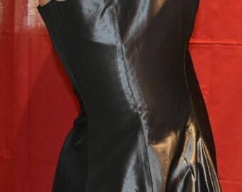 Metallic black full skirt fitted bodice prom evening formal elegant long gown