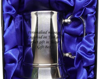 Personalised Engraved Best Man Tankard In black gift box with blue satin lining