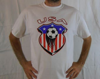 USA Soccer T-shirt-Futbol T-shirt-Patriotic USA sports t-shirt-white t-shirt-Sports t-shirt-US Soccer pride t-shirt-Athletic T-shirt-new