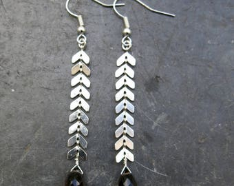 quartz bead and silver spike earrings
