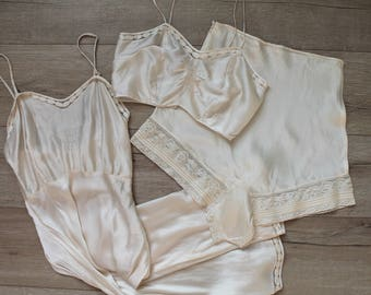 Bridal Trousseau Lingerie Set - 1920s silk and satin slip, bra, and tap pants, XS/S