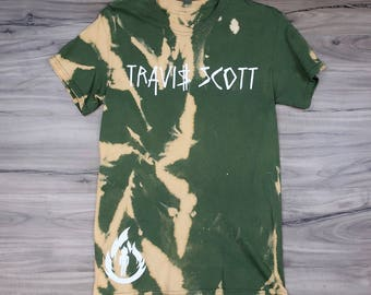 Travis Scott, Vintage Bleached T-Shirt -Military Green- La Flame Logo (White Print)
