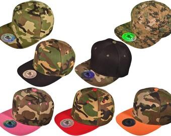 Flat Bill Blank/CAMO Snapback Hats -