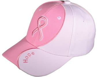 Pink Ribbon Baseball Hat Breast Cancer Awareness Caps Embroidered Hope