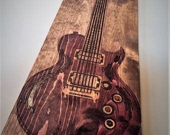 Guitar Art, Electric Guitar Art, Music Art, Guitar Gift, Pyrography Music Art, Pyrography Art