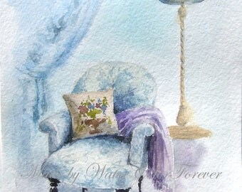 Original painting, watercolor painting, old comfy chair, painting easy chair, painting interior, Provence style, gift, wall art
