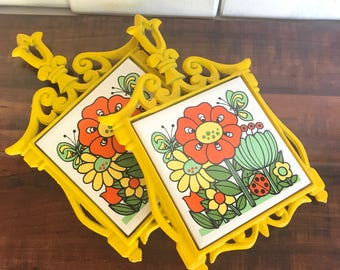 Flower Power Kitchen Trivet Spoonrest 70s
