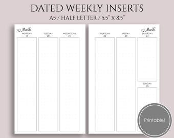 "Jan-Mar 2018 Dated Weekly Printable Planner Inserts, WO2P, Q1 Vertical Column Layout with Dot Grid ~ A5 / 5.5"" x 8.5"" Instant Download (WVC)"