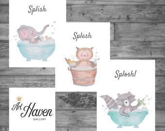 Kids Bathroom Wall Art, Kids Bathroom Print, Childrens Bathroom Prints, PRINTABLE WALL ART, Baby Animals, Bathroom Decor, Bathroom Art, Bath