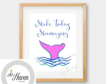 Mermaid Wall Art, Mermaid Decor, Mermaid Printable, Mermaid Print, Mermazing, Nursery Decor, Mermaid Quote, Motivational Art, Mermaid Poster
