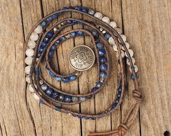 Moonstone and Lapis Wrap Bracelet