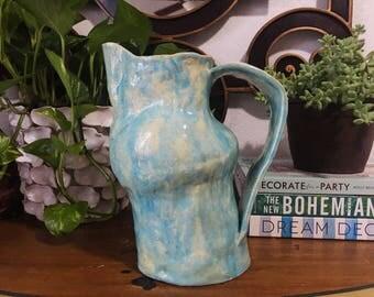 Handmade Ceramic Blue Pitcher, Vintage Flower Vase // SALE