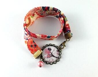 Bracelet double liberty motif fée rose et papillons