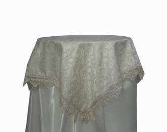Ivory damask table cover with tulle lace