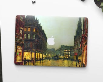"John Grimshaw, ""Boar Lane, Leeds"". Macbook Pro 15 decal, Macbook Air 13 skin, Macbook 12 sticker. Macbook Pro sticker. Macbook skin Art."